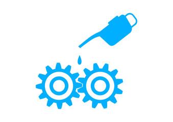 Blue industrial icon on white backgroun
