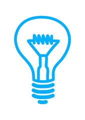 Blue light bulb icon on white background