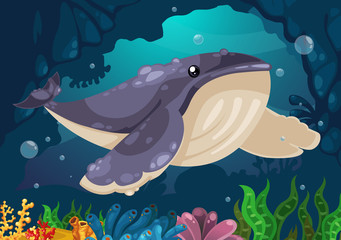 whale under the sea vector