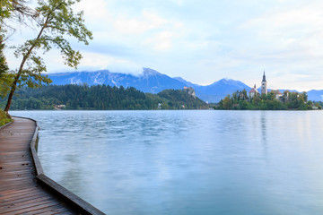 Beautiful Bled lake next to pier in Slovenia