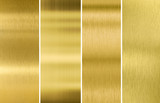 Gold or brass brushed metal texture backgrounds set poster