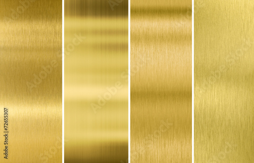 Gold or brass brushed metal texture backgrounds set - 72655307