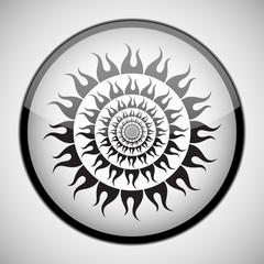 Black Sun in black circle frame. Icon Concept