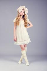 Portrait of cute girl doll.