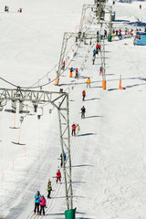Rope tow systems of Kitzsteinhorn ski region in Austria