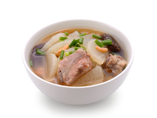 soup radish with pork serve on bowl, thai food isolated on white