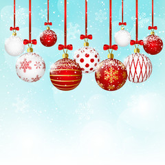 Christmas balls on blue sky background