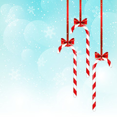 Christmas candies on blue sky background