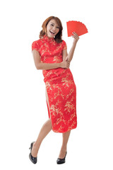 Chinese woman dress cheongsam and hold red envelope
