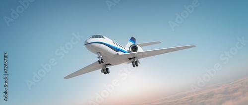 Fotobehang Zonsondergang Business jet