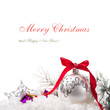 Christmas tree ornaments on white background with copy space