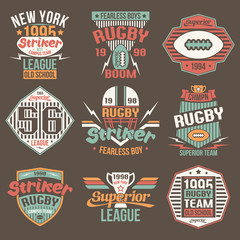 College team American football retro vintage emblems