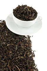 black tea leaves in a cup