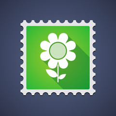 Mail stamp with a flower