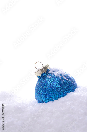 canvas print picture Blue Christmas bauble with snow