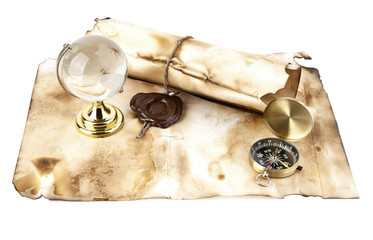 old maps, compass and globe