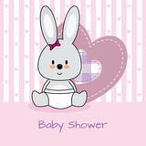 baby shower card. rabbit and heart