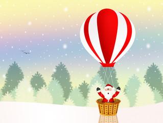 Santa Claus on a hot air balloon