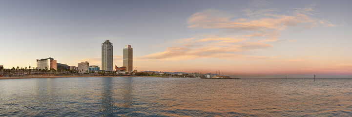 Coastline of Barcelona at evening, Spain. Panoramic View.
