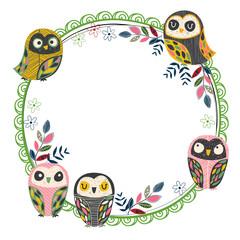 vintage owl frame layout 2