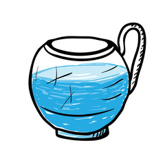Glass cup with water, vector illustration.