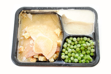A Frozen Turkey TV Dinner Over White