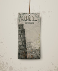 Pisa Tower, hand drawn vector illustration