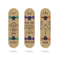Set of retro vintage badges on a skateboard