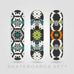 Skateboard set. Tracery floral