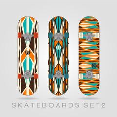 Skateboard set. Retro tracery