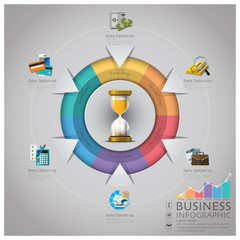 Sandglass Business Infographic With Round Circle Diagram