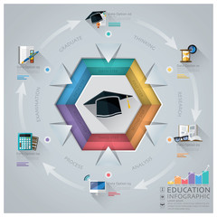 Education And Graduation Infographic With Hexagon Diagram
