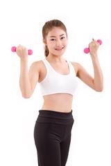 portrait of pretty sporty girl, hand holding dumbbell