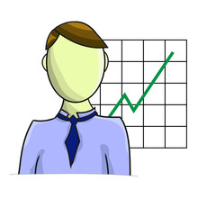 Illustration of businessman with graph isolated