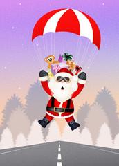 Santa Claus with parachute