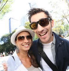 Couple of tourists having fun visiting New York City