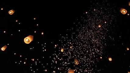 Floating asian lanterns in ChiangMai ,Thailand - length 1 min