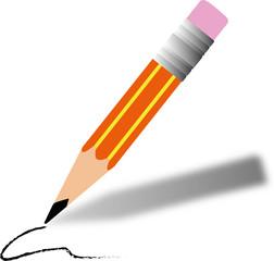 A cartoon pencil writing
