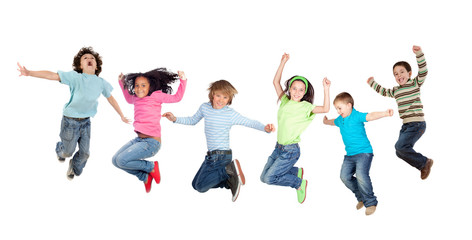 Six funny children jumping