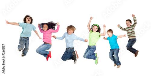 Six funny children jumping - 72662137