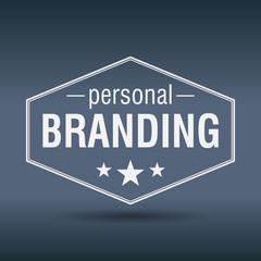 personal branding hexagonal white vintage retro style label