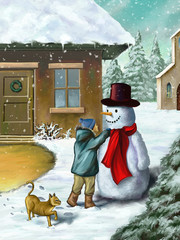 Children and snowman