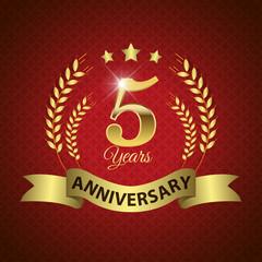 Celebrating 5 Years Anniversary, Golden Laurel Wreath & Ribbon