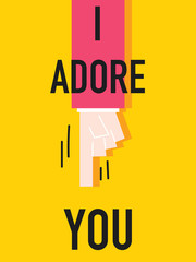 Word I ADORE YOU vector illustration