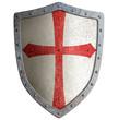 Leinwandbild Motiv templar or crusader knight's metal shield isolated