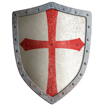 templar or crusader knight's metal shield isolated