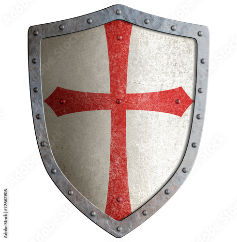 templar or crusader knight's metal shield isolated - 72662906
