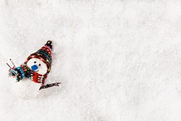 Snowman On Snowy Background