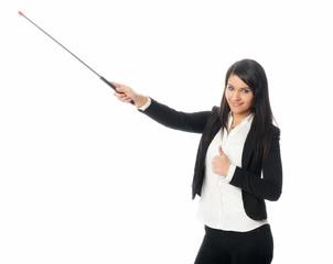 Junge Frau mit Zeigestock zeigt Daumen hoch