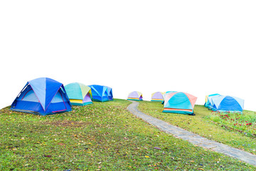 group of tourist tent isolated on white